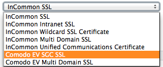"Choose ""Comod EV SGV SSL"""
